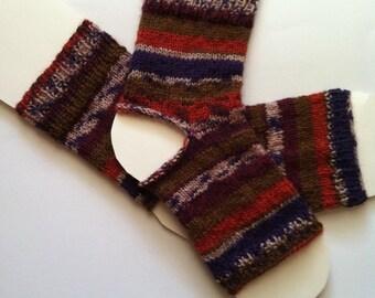 Hand Knit Wool Yoga Socks, Feet Warmers, Dance Socks, Pedicure Socks, Pilates socks, Hipster Socks, Flip-flop Socks, Toeless Short Socks