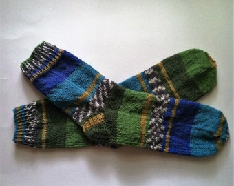 Hand Knit Warm Women's Striped Superwash Wool  Socks, Size  8.5  - 9  (9.75 inches length), Knitted Wool Socks, Knit Boot Socks, Green, Blue