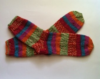 "Hand Knit Warm Women's Striped Superwash Wool Socks, Size 9.5 - 10 (10"" length), Knitted Wool Socks, Knitted Boot Socks, Leg Warmers,  Socks"