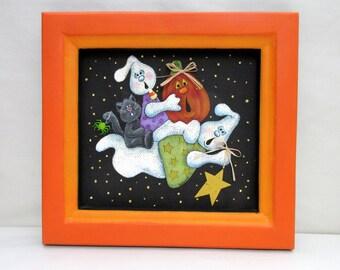 Flying Halloween Ghosts, Cat and Pumpkin, Folk Art Halloween, Hand or Tole Painted on Black Screen, Reclaimed Wood Frame, Orange Frame
