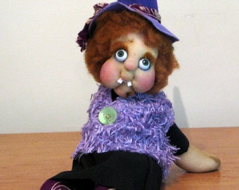 Witch Sweet-Toothead Iris, Halloween decoration, One of a kind, OOAK, Art doll, collectionable