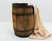Primitive Wooden Barrel - rustic wood nail keg