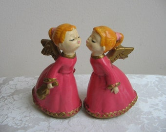 Vintage Kissing Angels Girl Statues Pair Set of 2 Pink Gold Paper Mache Plaster, 1960's Papier Mache Retro Kitsch Christmas