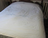Vintage Full Size Cotton Embroidered Bluebird Bed Cover Bedspread