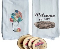 Flour Sack Towels & Printed Wood Coaster Gift Set | Patriotic Set | Gifts under 40 | American Mason Jar | Welcome to Our Nest