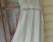 dreaming dress, silk + vintage laces gown, alternative olde worlde inspired dress,  medium