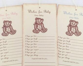Teddy Bear Wish Tree Tags Fill in the Blank Dear Baby Shower Set of 10