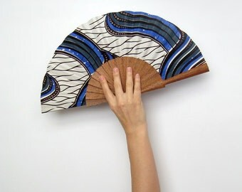 Ankara hand fan with case | White and blue fan | beach accessory fashion | female design