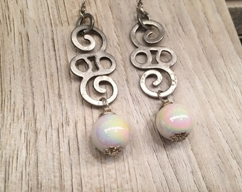 Exotic SWIRLY Silver Toned  Dangling / White IRRIDESCENT Beaded Funky Unique Statement Earrings OOAK