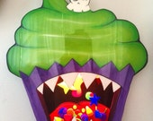 "Wall Art Cupcake Black Light wall decor Monster Cupcake Nightlight with Skull Cherry 30""x23"""