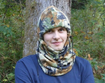 Wilderness Bear And Elk Print Adult Fleece Balaclava Hat - Ski Mask - Gift For Him - Gift For Her - Fathers Day Gift - Hunting Hat