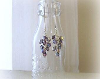 Long Crystal Earrings, Sterling Dangle Earrings, Swarovski Earrings, Cluster Earrings, Purple Crystal Earrings, Sparkly Earrings