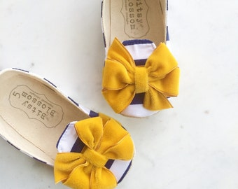 Mustard Baby Shoes Toddler Shoes Girl Shoes Nautical Shoes Infant Shoes Soft Sole Shoes - Rou