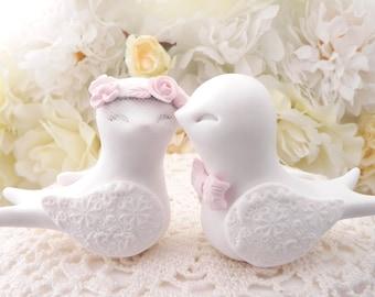 Swallowtail Love Bird Wedding Cake Topper, White and Blush Pink, Bride and Groom Keepsake, Fully Custom