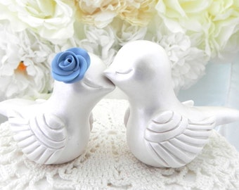 Love Bird Wedding Cake Topper, Mother of Pearl and Steel Blue,  Bride and Groom, Keepsake, You Choose Colors