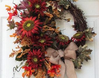 Fall Wreath –Autumn Sunflowers – Sunflower Wreath - Door Wreath – Front Door Wreath