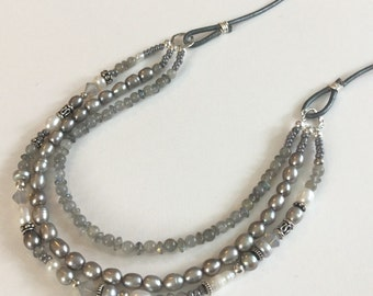 Long Gray Gemstone & Freshwater Pearl and Sterling Silver Necklace