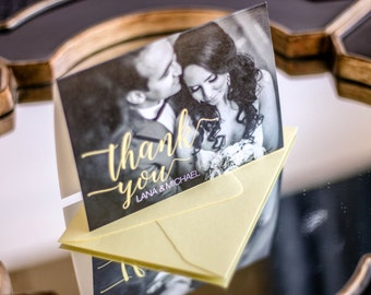 """Black and White Thank You Cards, Yellow Picture Wedding Thank You, Modern - """"Whimsical Calligraphy"""" Folded Photo Thank You Cards - DEPOSIT"""