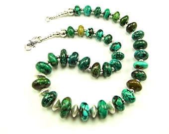 High Grade Hubei Turquoise Sterling Necklace - N553C