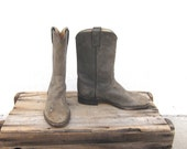 Cowboy Boots Distressed Grey Leather Cowboy Boots Mens 6.5C, Ladies 7.5