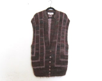 80s Mohair Purple Sweater Vest Duster Shawl Cardigan Fuzzy Boho Hippy Avant Garde Modern Ladies O/S