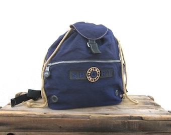1990s Kipling Navy Nylon Small Backpack Purse