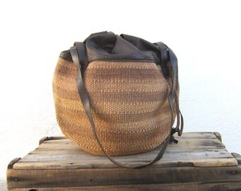 Drawstring Tote Sisal Woven Straw African Beach Bag