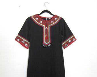 Ethnic Kaftan Maxi Dress Embroidered Embellished Thai Dress Ladies Size XS/S