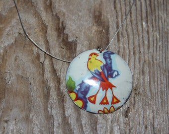 Vintage Tin Pendant, Handmade Tin Necklace, Recycled Tin Pendant/Necklace,Tin Pendant, Salvaged Tin Pendant