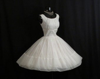 Vintage 1950's 50s White Ivory Ruched CHIFFON Organza Party Prom Wedding Dress Gown