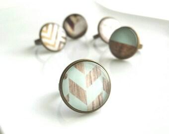 Mint Ring - wood grain pale aqua blue chevron checkerboard pattern photo under glass dome - antiqued brass adjustable band 6 7 8 modern hip