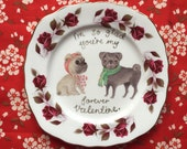Forever Valentine Pug Couple with Roses Vintage Illustrated Valentines Day Plate
