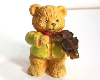 Musical Bear Figurine - Violin Player in yellow tuxedo - 1990s