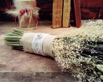 Bridal Bouquet-Rustic Bouquet, Lavender. Ears and Gypsophilia flowers