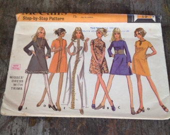 Vintage McCall's Sewing Pattern 2004 Misses' Size 14 Bust 36 Dress with Trims