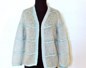 vintage mohair sweater - 1950s-60s baby blue lambswool cardigan