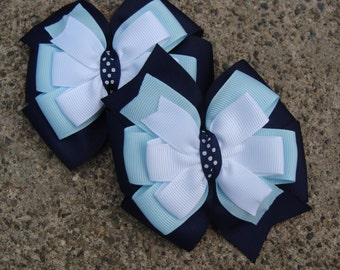 2 School hair bows uniform Hair Bow Navy Hair Bows Navy Red and White Hair Bows Pigtail Set