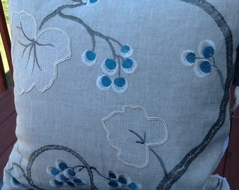 """Neutral Embroidered Accent Decorative Pillow 16"""" Cover"""