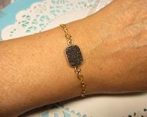 Druzy Bracelet, Black Druzy Rectangle Bracelet in Gold Bezel, Mother's Day Bracelet, Gift For Daughter, Gift for Niece