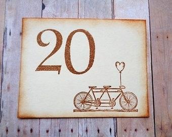 Tandem Bicycle Wedding Table Numbers Rustic Vintage Style Bike Number Cards