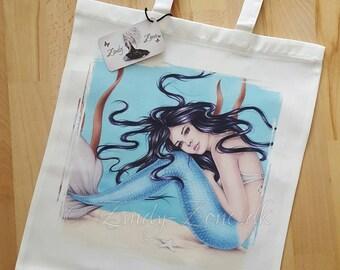 Mermaid Water Blue Ocean Sea Beauty Art Tote Bag Beautiful Fantasy Girl Zindy Nielsen