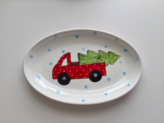 Vintage truck Christmas platter, red truck christmas, christmas platter, hand painted platter, holiday platter, christmas truck with tree