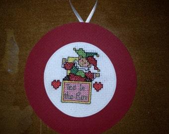 Ted in a Box Cross Stitch Ornament