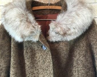 Vintage 60s Dark Brown Mod Peacoat Coat Mink Fur Collar L -XL