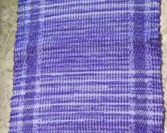 Purple rug, hand woven, made in USA