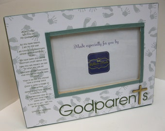 Godparents Ultrasound Frame-  White Trim and Bow your color choice