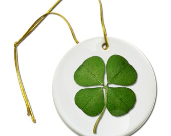Saint Patricks Day Four Leaf Clover on a Hanging Ceramic Ornament