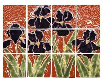 "ON SALE 20% off: Field of Iris, purple, green and terra-cotta handmade tile mural 12""H x 16""W"