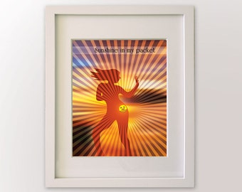 Sunshine in My Pocket / Can't Stop the Feeling by Justin Timberlake - Song Lyric Art - Jazzercise Music, Dance pose,  8x10 art print
