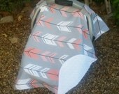 Baby Car Seat Cover - Baby Car Seat Canopy - Coral and Grey Canopy - Arrow Canopy - Tribal Canopy - Girl Carseat Canopy - Baby Shower Gift